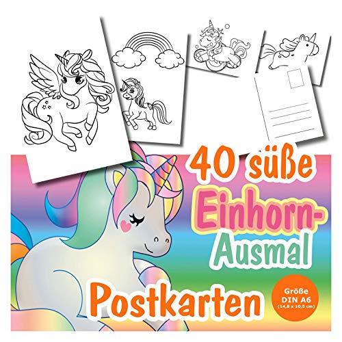 40 x DIY Postkarten zum Ausmalen mit Einhörnern, für Kinder ab 3 Jahren. verschiedene süße Einhorn Motive für alle kleinen Künstler. Tolle Einhorn-Postkarten für jede Gelegenheit zum Verschicken!