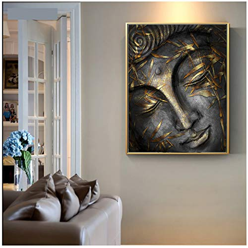 Head of Lord Buddha Statue with Golden Leaves Home Decor Wall Pictures for Living Room Canvas Painting Artwork 60x80cm(23.6'x31.5) with Frame