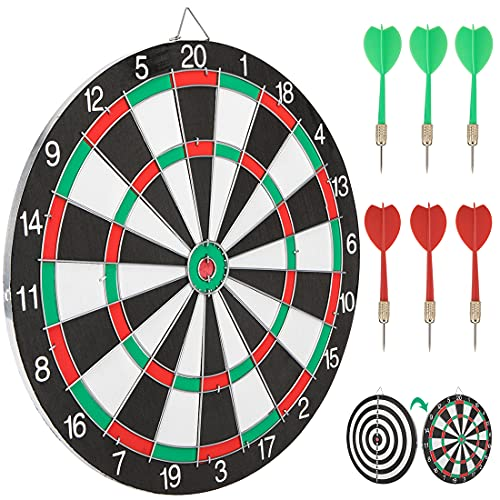 peinat Dart Board, Double-Sided Available Dartboard with 6 Darts Metal Tip Set Indoor Game Bristle Dart Boards, Safety Dart Board for Kids Professional Toys for 12 Year Old Boys Kids, 15in
