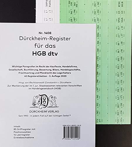 DürckheimRegister® HGB im dtv (2020): 85 Registeretiketten (sog. Griffregister) für das Handelsgesetzbuch HGB mit den wichtigsten Gesetzen und ... 257) In jedem Fall auf der richtigen Seite®