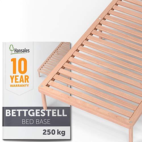 Hansales Bettgestell 90x200 cm – Futonbett 180x200 und Lattenrost mit Füßen für den Bettrahmen – bis 250kg belastbar –stabiles Holzbett – unbehandeltes, FSC-zertifiziertes Massivholz