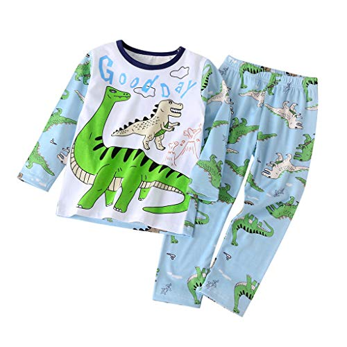 Hui.Hui Ensemble Garçon Fille Parent-Enfant Pyjama,Tops Dessin Animé Imprimé Manches Longues Blouse et Pantalon Famille Correspondant Vêtements pour 0-3 Ans