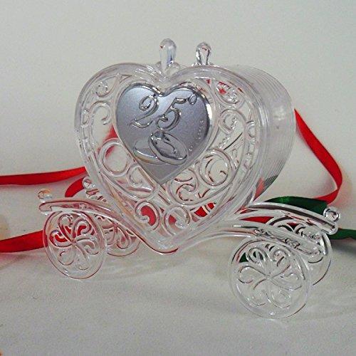Bomboniere (2 bomboniere) Scatolina Carrozza per 25° Anniversario di Matrimonio