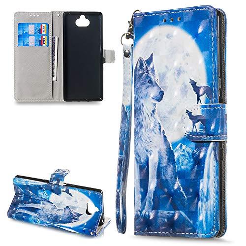 HUDDU Kompatibel mit Sony Xperia 10 Handyhülle Leder Wallet Flip Case Tasche Brieftasche Schutzhülle Ultra Dünne Ständer Handytasche Magnetverschluß Card Holder Sony 10 Hüllen Blauer Wolf