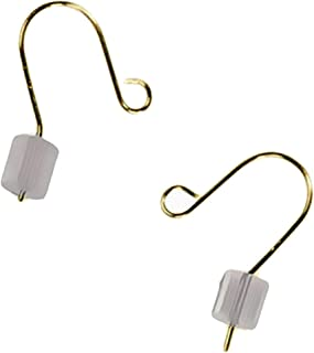 Tiny Earwire 14k Yellow Gold Fishhook Loop Earring Parts w/Stoppers .016