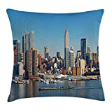 New York Throw Pillow Cushion Cover, Urban City Skyline Manhattan with Empire State Building over Hudson River Panorama, Decorative Square Accent Pillow Case, Blue Grey 20x20 inches