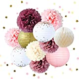 NICROLANDEE Pink Party Décoration Kit Papier Fleurs Rose Points Lanternes en Papier Étoile Doré Confetti pour Anniversaire De Mariage