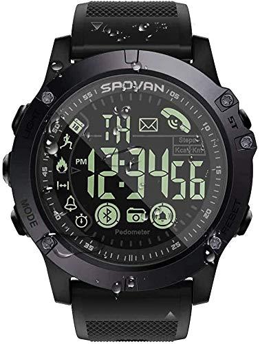 T1 Tact Military Grade Super Tough Smart Watch Outdoor Sports Talking Watch Mens Digital Sports Watch Waterproof Outdoor Pedometer Calorie Counter Multifunction Bluetooth Smart Watch (Black)