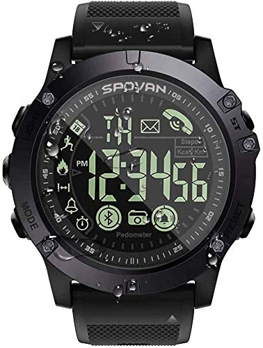 T1 Tact Military Grade Super Tough Smart Watch Outdoor Sports Talking Watch Mens Digital Sports Watch Waterproof Outdoor Pedometer Calorie Counter Multifunction Bluetooth Smart Watch (Black)