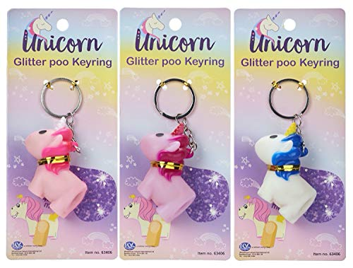 1 x Fun Kids Novelty Pooping Unicorn Keyring POOPOO Pooping Key Ring, Unicorn Glitter Poo Poo Keyring Key Chain, Party Bag Favour