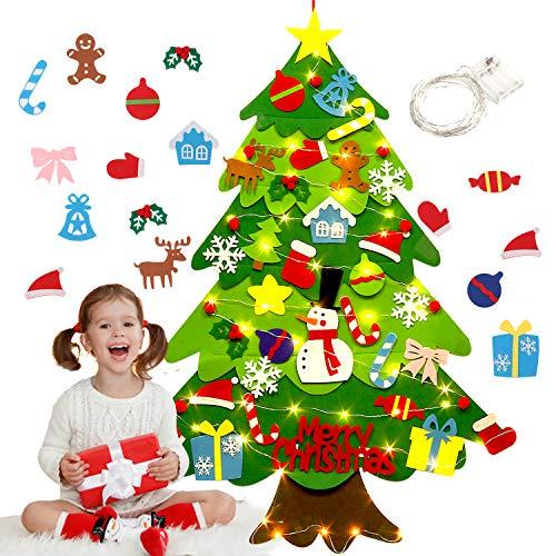 Fieltro Árbol de Navidad,justdolife Árbol de Navidad DIY con 50 Luces LED 28 Unids Adornos Navidad Decoración Colgante para Niños Regalo de Navidad Niños arbol de Navidad Cafe Hotel casa decoración