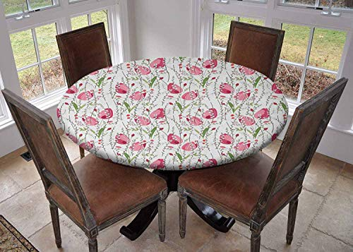 Ronde tafelkleed keuken decoratie, tafelkleed met elastische randen, Bedding Plants Tuin Hekken Cottage Yard Bloemen in Potten Kinderachtige Kevers Patroon Multi kleuren, Party Tablecovers