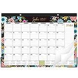2021-2022 Desk Calendar - 18 Monthly Desk/Wall Calendar 2-in-1, 16.8' x 12', July 2021 - December 2022 with Corner Protectors, Ruled Blocks - Black Floral