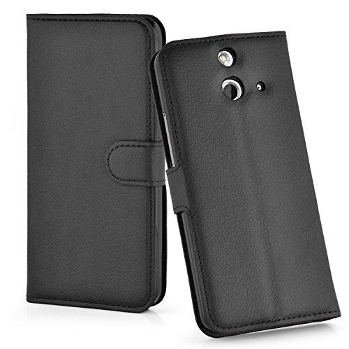 Cadorabo Hülle für HTC One E8 Hülle in Phantom schwarz Handyhülle mit Kartenfach & Standfunktion Hülle Cover Schutzhülle Etui Tasche Book Klapp Style Phantom-Schwarz