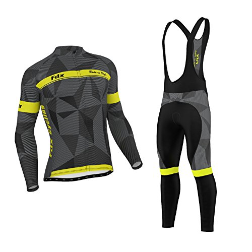 FDX - Maglia termica da uomo classica da ciclismo invernale + set di collant con bretelle da ciclismo (nero/grigio/giallo, taglia XX-Large)
