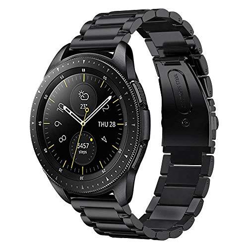 MroTech Correa Galaxy Watch 42mm Acero Inoxidable 20mm Pulseras Compatible para Garmin Vivoactive 3/ Samsung Galaxy Active/Withings Steel HR/Bip/Huawei Watch 2 Reloj Banda Straps -Negro