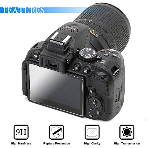 AFUNTA visualización de la cámara Protector de visualización para Nikon D5300 D5500, 2 Pack Vidrio Templado antiarañazos
