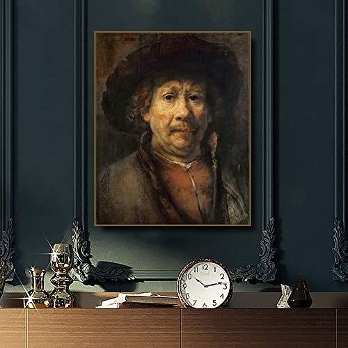 sakkdaull -Digital Pintura al óleo Lienzo Arte de la Pared 40x50cmPequeño autorretrato Rembrandt Caligrafía-Pintura DIY Adultos por número DIY Canvas Toolkit Niños Mayores Tercera Edad