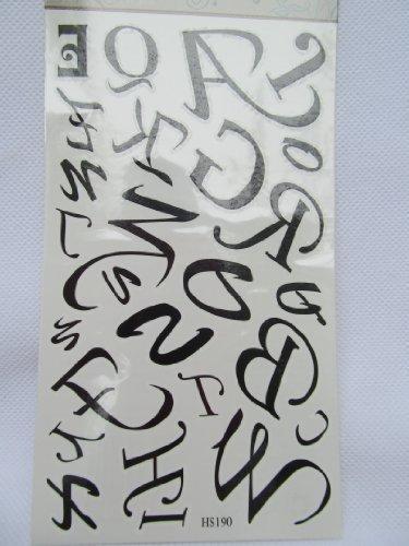 Fat-CATZ Uomo Donna tatuaggio temporaneo Tabella Qualità Nero artistica lettere corsivo alfabeto A alla Z feste sacs-cadeaux–turni di Londra