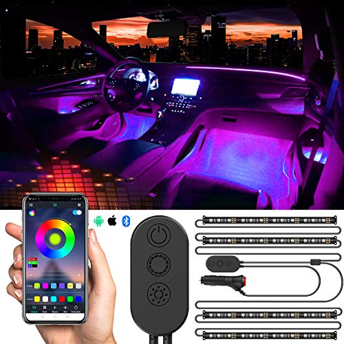 Car Interior Lights, Car Strips Lights with App and Remote Control Waterproof LED Atmosphere Car Lights Come with 48 LED Chip 8.8ft Length Indoor Lights with DC 12V Car Charger Sync to Music
