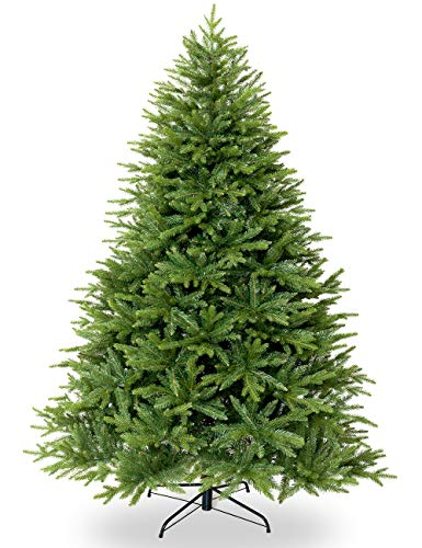 Togake Artificial Christmas Tree 5ft/6ft/7ft Hinged Unlit Full PE and PVC Tree w/830/1324/1888 Branch Tips-Foldable Metal Stand-Easy Assembly-Fat Xmas Tree for Holiday Outdoor and Indoor Decor-Green