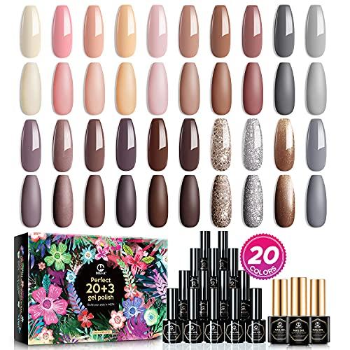 MEFA Gel Nagellack Set 20 Farben,Nude Pink Braun Gel Nagellack Soak Off LED Nagelgel für Nail Art Gel Nail Polish Starter Kit, mit Glänzend & Matt Top Base Coat Geschenkbox