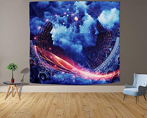 Tapiz blanco y negro Luna Estética Misterio Chakra Meditación Planeta Tapiz de pared Sala de estar Decoración Tapiz a25 130x150cm