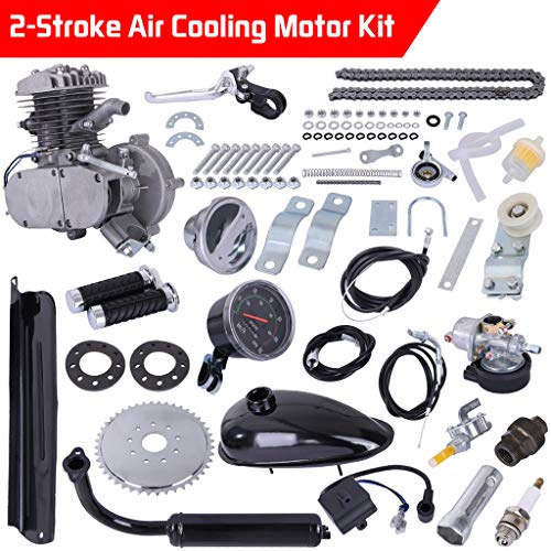 Upgrade 80cc 2 Stroke Cycle Motor Kit Motorized Bike Kit, Petrol Gas Bicycle Engine Kit with Speedoemter Super Fuel-efficient for 26