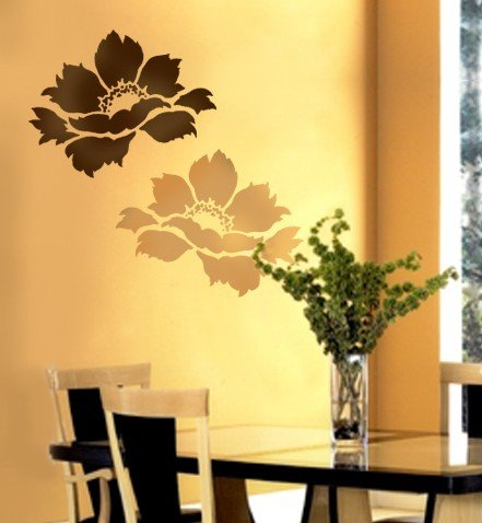 Tree Peony Wall Stencil – Floral Stencils for Walls – Flower Stencil Designs – Reusable Stencil for Painting Walls and Floors – Try Stencil instead of Wallpaper and Save Lots on Room Makeover (Medium)