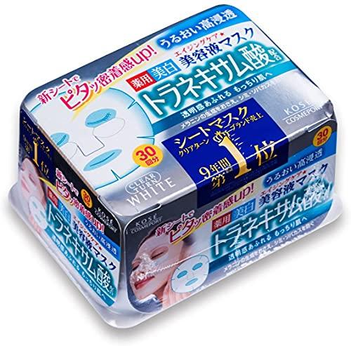 Máscara hidratante antienvejecimiento blanqueadora Kose Clear Turn Essence, ácido tranexámico, 30 máscaras cosméticas japonesas, fabricada en Japón