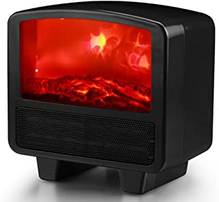 KXHWSH Mini Calefactor Eléctrico Ventilador de Calefactor, Mini Heater Portátil Bajo Consumo Protección de Sobrecalentamiento Termoventilador Luz de Llama para Hogar y Oficina