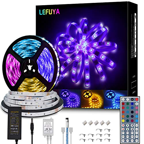 LEFUYA LED Strip Lights 32.8ft Waterproof Flexible Color Changing LED Light Strip with Remote 44 Key,5050 RGB LED Strip Lights Kit for Home,Bedroom,Kitchen,Bar,DIY Party Decoration(2X16.4ft)
