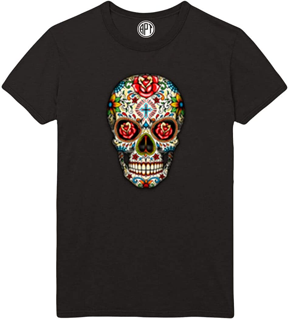 Day of The Dead Sugar Skull with Roses Printed T-Shirt
