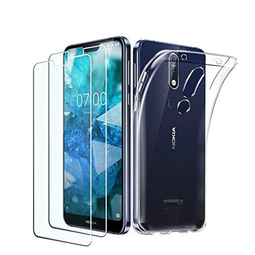 PULEN Nokia 7.1Custodia, Ultra Sottile TPU Copertura [Shock-Absorption] con AntiGraffio Vetro temperato (Trasparente) per Nokia 7.1[3in 1Confezione]