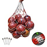 MEZOOM Basketball Carrying Net Bag Extra Large Ball Bag Football Volleyball Rugby Mesh Equipment Bag Heavy Duty Storage Sack with Drawstring Closure and 5PCS Ball Inflator Needles