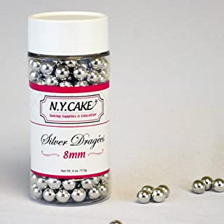 Siliver Dragees 8mm By NY Cake 4oz