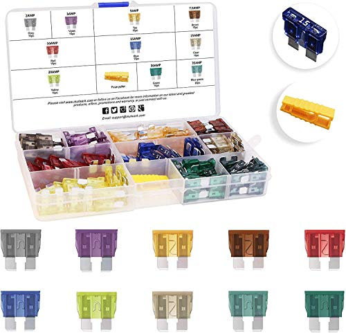 MulWark 120pc Assorted Standard Auto Car Truck Blade Fuses Set-2A 3A 5A 7.5A 10A 15A 20A 25A 30A 35A-ATC/APR/ATO/ATS Automotive Spare Replacement Fuse Assortment Kit for Boat,Marine,RV,SUV,Trike