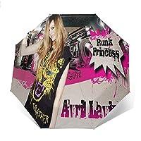 最新の人気の傘 自動開閉式折りたたみ傘 音楽Avril 傘 防風、防水および紫外線抵抗、持ち運びが簡単で、パーソナライズがいっぱい 学校、旅行、買い物、買い物、仕事、クール時代をリードする