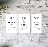 Küchen Songs Poster 3er Set (20 x 30 cm) Kunstdruck Kochen