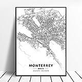 NOVELOVE Monterrey Ciudad México Mapa Cartel Impresiones en HD Arte de la Pared Fotos Lienzo Pintura Bar Mural Decoración para el hogar Sin Marco 42 * 60 cm