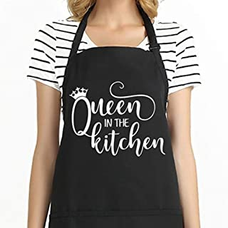 Shock Funny Cooking Apron for Women Adjustable Kitchen Chef Apron with 2 Large Pockets Professional for Cooking Baking Grilling