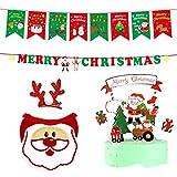 Rehomy Pet Christmas Party Supplies Set incluye banderines de Navidad para perro, babero de cuerno, horquillas para tartas, decoración para perros y gatos
