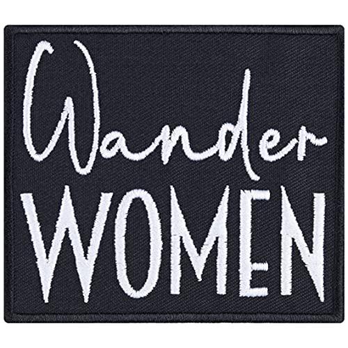 Parches para mujer de Wanderlust, para planchar, para hacer senderismo, ideal como regalo para mujeres/niñas, para chaquetas, chalecos, vaqueros, mochilas, 80 x 70 mm