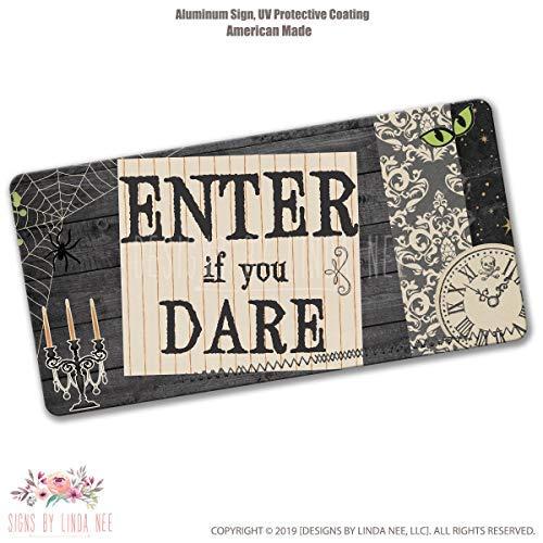 Ced454sy - Panneau d'Halloween « Enter If You Dare » - Décoration de sorcière imprimée pour Halloween