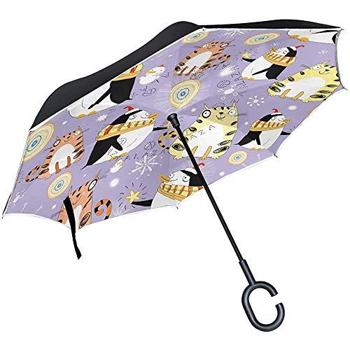 Merle House Ombrello invertito Simpatici Gatti Animali Pinguino Pupazzo di Neve Ombrello inverso a Doppio Strato con Manico a Forma di C.