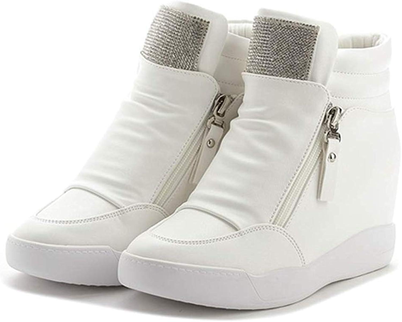 Women Height Increasing Trainers shoes Zipper Bling Sequin Ankle Sneakers Platform Hidden Wedges