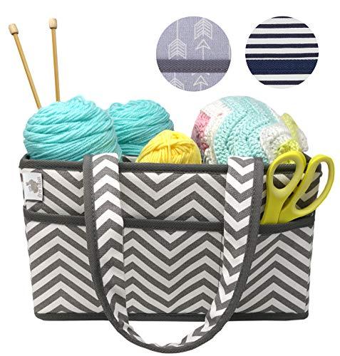 Premium Craft Caddy by Little Grey Rabbit | Knitting Storage Bin & Organizer Basket | Holds Yarn, Needles, Tape, More | Perfect Gift | White & Gray Chevron (Grey Chevron)