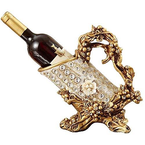 YIBOKANG Europeo tradicional resina clásica rack vino gabinete de vino decoración adornos de exhibición soporte rojo vino tenedor creativo sala de estar vino bandeja de vino botella de vino estante de