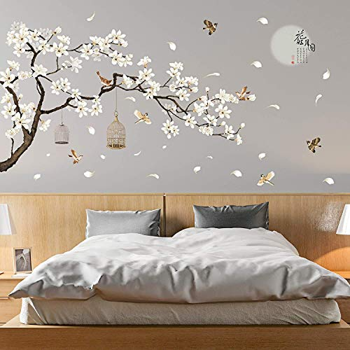 LiveGallery White Peach Blossm Flowers Wall Decals Removable DIY Tree Branches Birds Saying Art Decor Wall Stickers Murals for Living Room TV Background Kids Girls Rooms Bedroom 8 Sheets of 12 x18