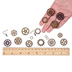 SUNNYCLUE 1 Box 140+ pcs Antique Bronze Steampunk Gears Jewelry Making Starter Kit Metal Gears Clock Watch Wheels Charms Pendants for DIY Necklace Earrings Making - Make 6 Pairs Earrings & 3 Necklace #2